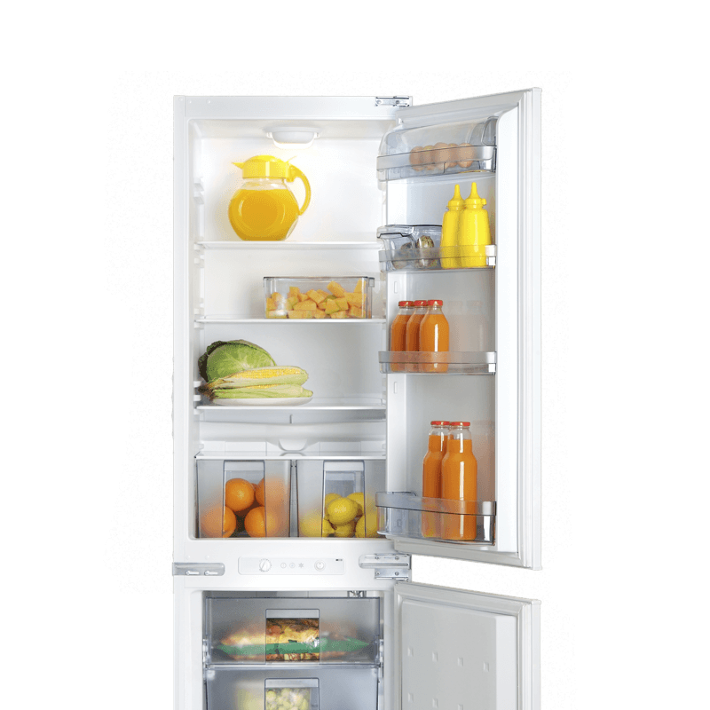 Open fridge with oranges, lemons, vegetables, juice, condiments and eggs inside