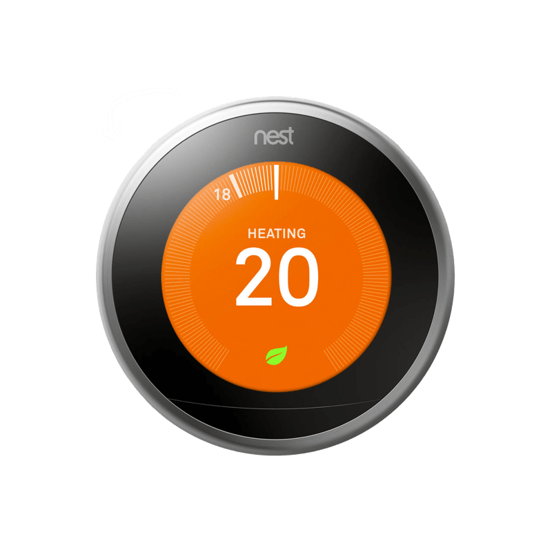 Nest smart home thermostat set to heat at 20 degrees