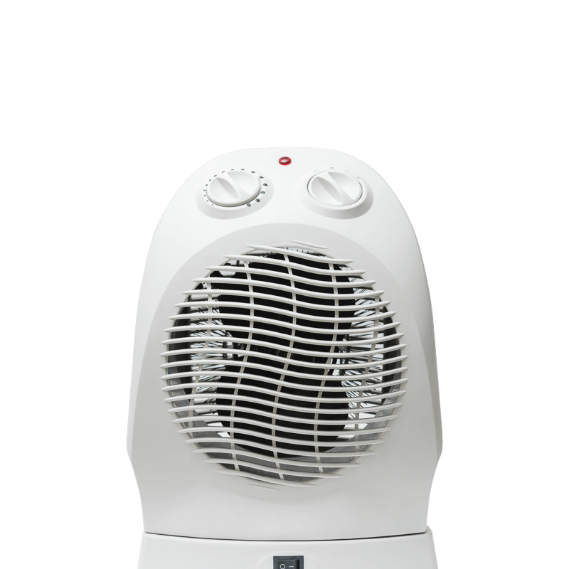 Portable fan with white squiggles radiating upwards